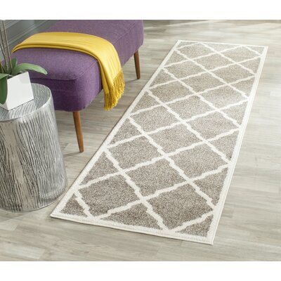 Maritza Dark Gray/Beige Indoor/Outdoor Woven Area Rug Rug Size: Runner 23 x 7