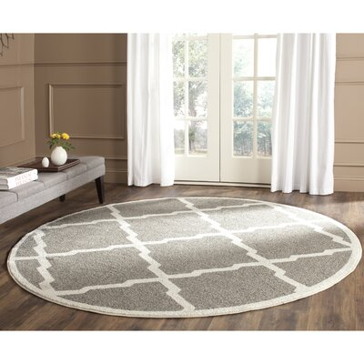 Maritza Dark Gray/Beige Indoor/Outdoor Woven Area Rug Rug Size: Round 5