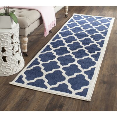 Maritza Geometric Navy/Beige Indoor/Outdoor Area Rug Rug Size: Runner 23 x 9