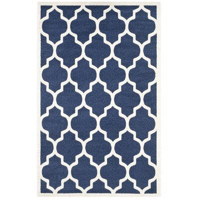 Maritza Geometric Navy/Beige Indoor/Outdoor Area Rug Rug Size: Rectangle 6 x 9