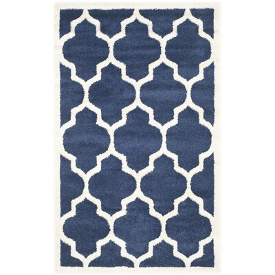 Maritza Geometric Navy/Beige Indoor/Outdoor Area Rug Rug Size: Round 9