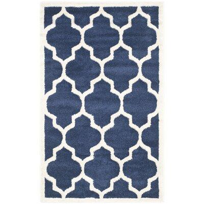 Maritza Geometric Navy/Beige Indoor/Outdoor Area Rug Rug Size: 4 x 6