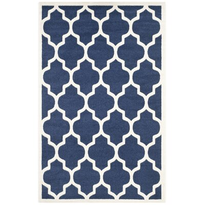 Maritza Geometric Navy/Beige Indoor/Outdoor Area Rug Rug Size: 5 x 8
