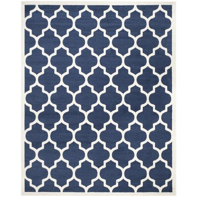 Maritza Geometric Navy/Beige Indoor/Outdoor Area Rug Rug Size: 10 x 14