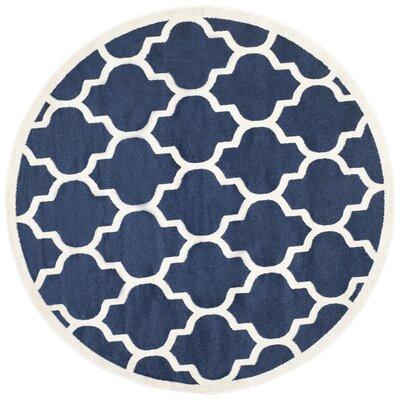 Maritza Geometric Navy/Beige Indoor/Outdoor Area Rug Rug Size: Round 5