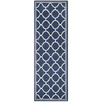 Maritza Geometric Navy/Beige Indoor/Outdoor Woven Area Rug Rug Size: Runner 23 x 15