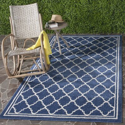 Maritza Geometric Navy/Beige Indoor/Outdoor Woven Area Rug Rug Size: Rectangle 9 x 12