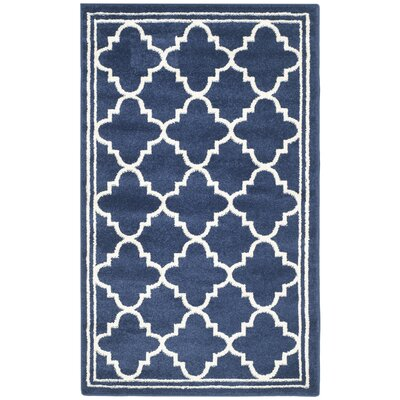 Maritza Geometric Navy/Beige Indoor/Outdoor Woven Area Rug Rug Size: 3 x 5