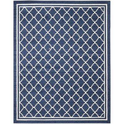 Maritza Geometric Navy/Beige Indoor/Outdoor Woven Area Rug Rug Size: 6 x 9