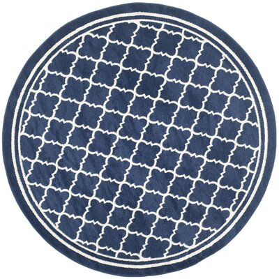 Maritza Geometric Navy/Beige Indoor/Outdoor Woven Area Rug Rug Size: Round 7