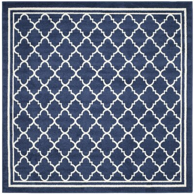 Maritza Geometric Navy/Beige Indoor/Outdoor Woven Area Rug Rug Size: Square 7