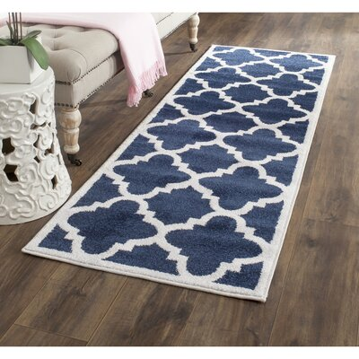 Maritza Navy & Beige Indoor/Outdoor Area Rug Rug Size: Runner 23 x 11