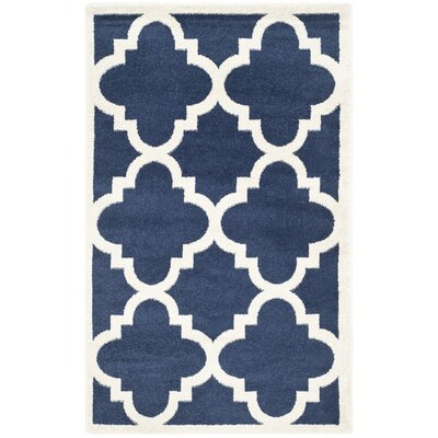 Maritza Navy & Beige Indoor/Outdoor Area Rug Rug Size: Rectangle 26 x 4