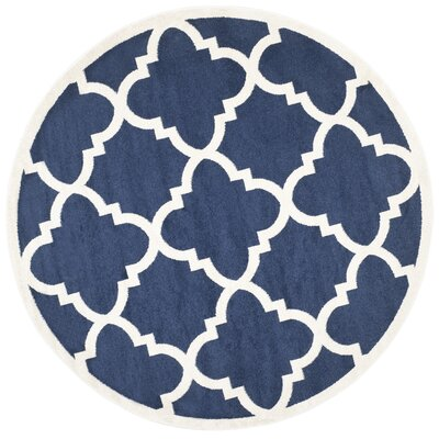 Maritza Navy & Beige Indoor/Outdoor Area Rug Rug Size: Round 7