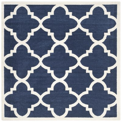 Maritza Navy & Beige Indoor/Outdoor Area Rug Rug Size: Square 7