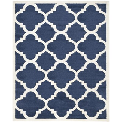 Maritza Navy & Beige Indoor/Outdoor Area Rug Rug Size: 9 x 12