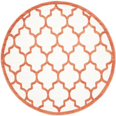 Currey Beige/Orange Indoor/Outdoor Area Rug Rug Size: Round 7