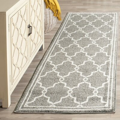 Maritza Geometric Dark Gray/Beige Indoor/Outdoor Area Rug Rug Size: Runner 23 x 11