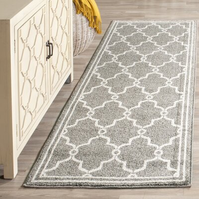 Maritza Geometric Dark Gray/Beige Indoor/Outdoor Area Rug Rug Size: Runner 23 x 9