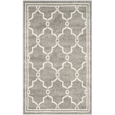 Maritza Geometric Dark Gray/Beige Indoor/Outdoor Area Rug Rug Size: 3 x 5