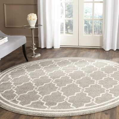 Maritza Geometric Dark Gray/Beige Indoor/Outdoor Area Rug Rug Size: Round 5
