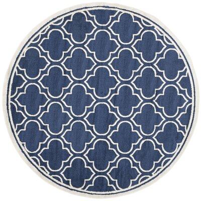 Maritza Navy / Ivory Indoor/Outdoor Area Rug Rug Size: Round 7