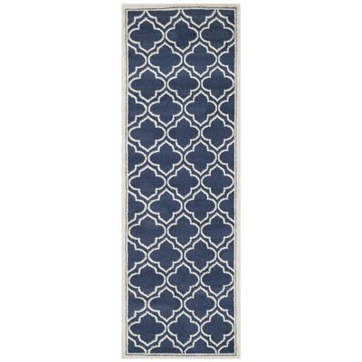 Maritza Navy / Ivory Indoor/Outdoor Area Rug Rug Size: Runner 23 x 9