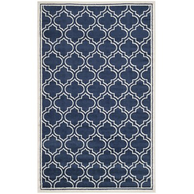 Maritza Navy / Ivory Indoor/Outdoor Area Rug Rug Size: 6 x 9