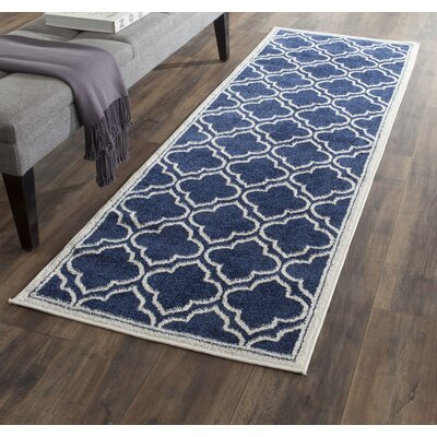Currey Navy / Ivory Indoor/Outdoor Area Rug Rug Size: Runner 23 x 9