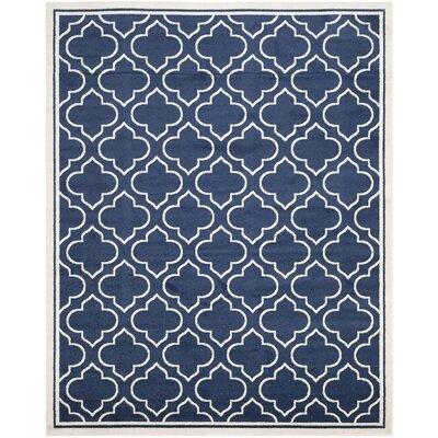 Maritza Navy / Ivory Indoor/Outdoor Area Rug Rug Size: 10 x 14