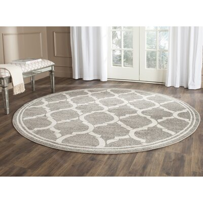 Maritza Dark Gray/Beige Indoor/Outdoor Area Rug Rug Size: Round 7