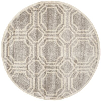 Maritza Geometric Gray/Ivory Indoor/Outdoor Area Rug Rug Size: Round 7