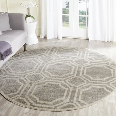 Maritza Geometric Light Gray/Ivory Indoor/Outdoor Area Rug Rug Size: Round 5