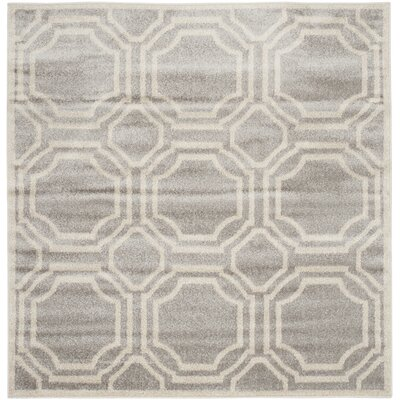 Maritza Geometric Light Gray/Ivory Indoor/Outdoor Area Rug Rug Size: Square 7