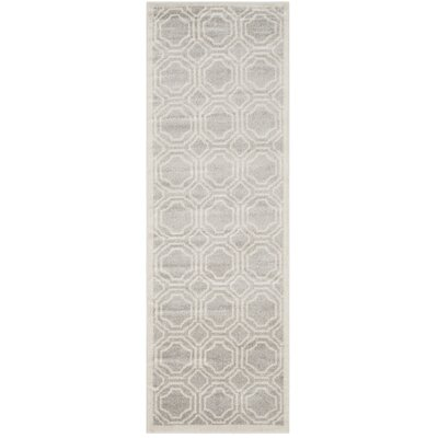 Maritza Geometric Gray/Ivory Indoor/Outdoor Area Rug Rug Size: Runner 23 x 9