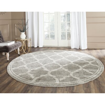 Maritza Gray/Light Gray Indoor/Outdoor Area Rug Rug Size: Round 7