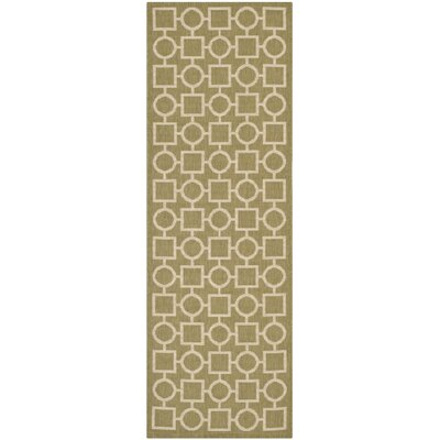 Olsene Green/Beige Indoor/Outdoor Area Rug Rug Size: Runner 2'3