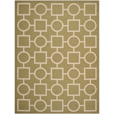 Olsene Green/Beige Indoor/Outdoor Area Rug Rug Size: Rectangle 6'7