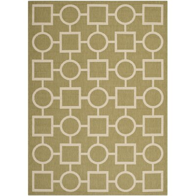 Olsene Green/Beige Indoor/Outdoor Area Rug Rug Size: 53 x 77