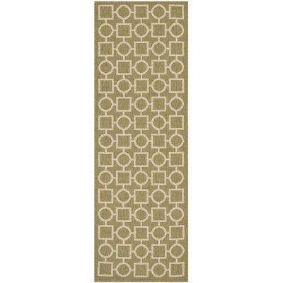 Olsene Green/Beige Indoor/Outdoor Area Rug Rug Size: Runner 23 x 67