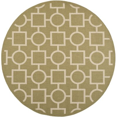 Olsene Green/Beige Indoor/Outdoor Area Rug Rug Size: Round 710