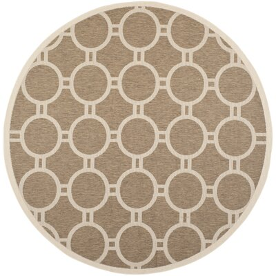 Olsene Brown/Bone Indoor/Outdoor Area Rug Rug Size: Round 710