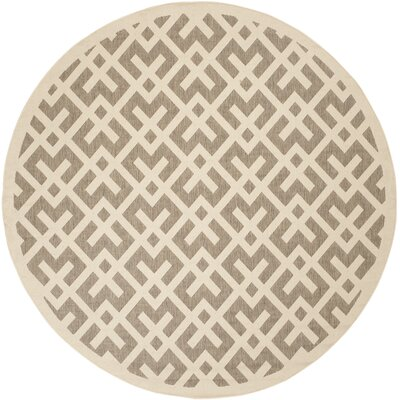 Olsene Brown/Bone Indoor/Outdoor Area Rug Rug Size: Round 8