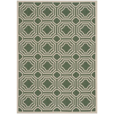 Olsene Dark Green/Beige Indoor/Outdoor Area Rug Rug Size: Rectangle 53 x 77