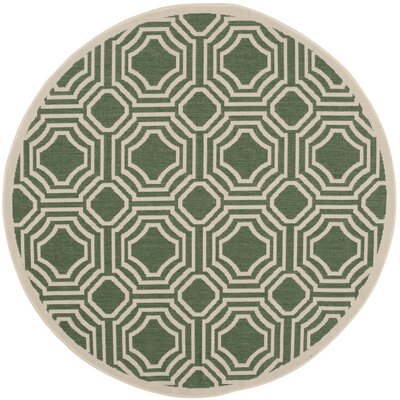 Olsene Dark Green/Beige Indoor/Outdoor Area Rug Rug Size: Round 53