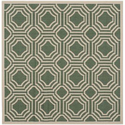 Olsene Dark Green/Beige Indoor/Outdoor Area Rug Rug Size: Square 53