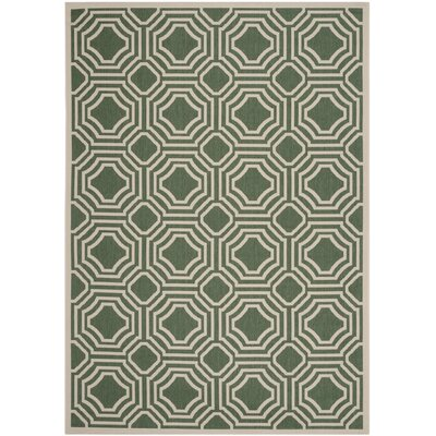 Olsene Dark Green/Beige Indoor/Outdoor Area Rug Rug Size: 67 x 96