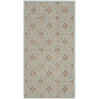 Olsene Brown / Aqua Indoor/Outdoor Area Rug Rug Size: 27 x 5