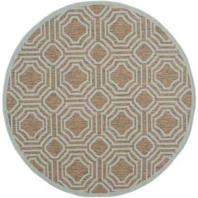 Olsene Brown / Aqua Indoor/Outdoor Area Rug Rug Size: Round 5