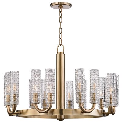 Ellayne 16-Light Shaded Chandelier Finish: Aged Brass